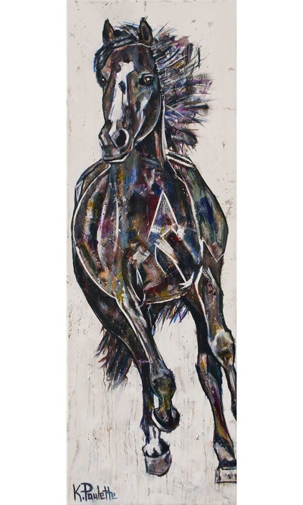 painting of a horse running with white background, contemporary art