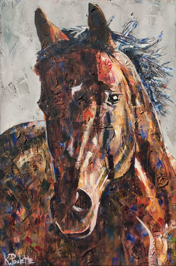 horse portrait painting brown