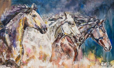 Horses Art original painting is acrylic on canvas. This contemporary equestrian art depicts horses running sideways. There are three horses.