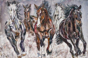 Painting of horses galloping in a stampede. This abstract art on canvas has motion and movement.