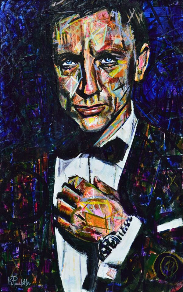 James Bond painting of Daniel Craig. Colorful abstract art by Kent Paulette.
