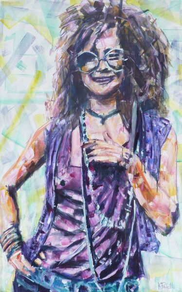 Janis Joplin is an original abstract painting for sale of the sixties classic rock musician. The Pop Art celebrity portrait has colorful geometric shapes and a modern style. Janis Joplin (aka Pearl) is happy and smiling. She is wearing glasses, purple shirts, and pearls. The psychedelic rock pop icon was a hippie and flower child in the 60's Woodstock era.