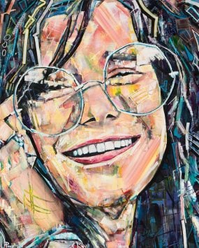 Janis Joplin painting is a portrait art for sale. This abstract original painting of Janis Joplin by artist Kent Paulette is acrylic on canvas and colorful. This Pop Art portrait has geometric shapes and a modern style. The 60's hippie musician Janis Joplin aka Pearl is smiling and wearing glasses at the psychedelic rock Woodstock music festival.