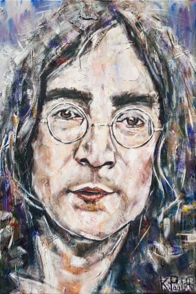 Painting of John Lennon. Portrait on canvas of musician from The Beatles by artist Kent Paulette.