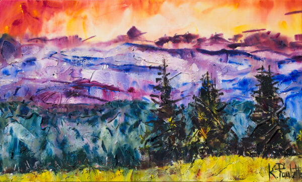 Landscape painting. This art on canvas has a colorful sky, trees, and mountains by artist Kent Paulette.