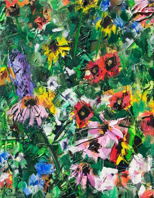 Painting of flowers in the garden with bright colors