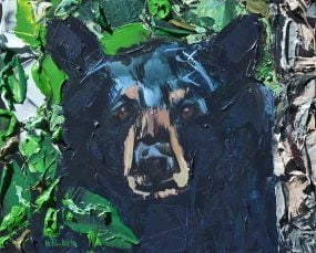 Leafy Bear is a green and blue animal painting with trees by artist Kent Paulette.