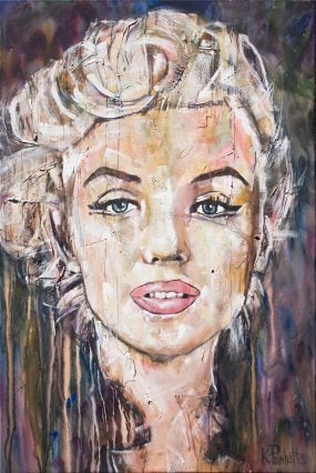 Marilyn Monroe painting portrait. Acrylic on canvas by artist Kent Paulette.