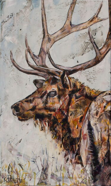 Modern rustic fine art for sale. This painting is in earth tones and it depicts an elk.