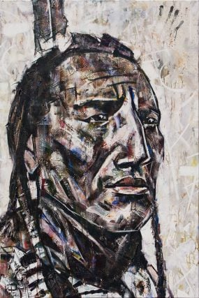 Native American Painting portrait of and Indian Chief with a feather in his hair. He could also be a warrior. The title is Stay Home by artist Kent Paulette