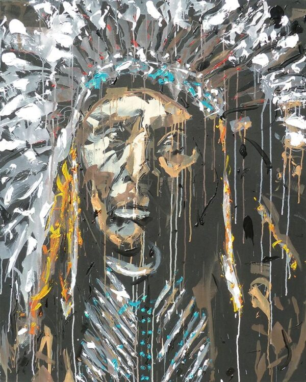 Native American portrait painting Over the Edge of Earth