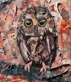 Northern Saw-whet Owl painting in brown, orange, and earthtones