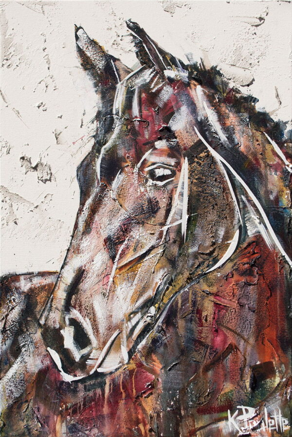 Painting of a horse looking sideways.