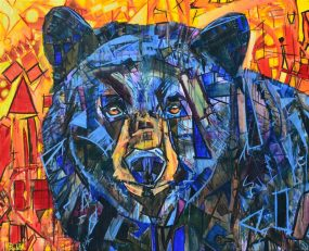 Bear Painting of blue & black bear for sale. The background is orange, red, & yellow fall leaves or a sunset. Original abstract animal art with colorful geometric shapes. The wildlife painting is an adult black bear portrait. Quantum Entanglement nature & modern art by Banner Elk, NC artist Kent Paulette.