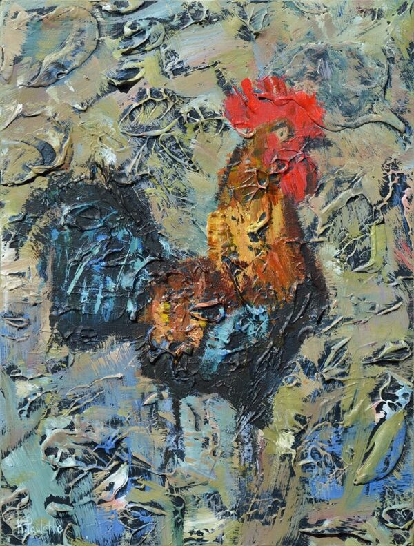 painting of rooster chicken