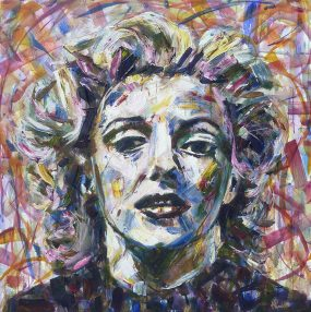 Marilyn Monroe portrait painting for sale of the 1950's pop culture icon Norma Jeane. This original Abstract Expressionism modern art of the celebrity actress and Hollywood Star is colorful. Marilyn Monroe looks sad but she's showing a beautiful honesty. Shades of Marilyn Pop art painting on canvas by Kent Paulette.
