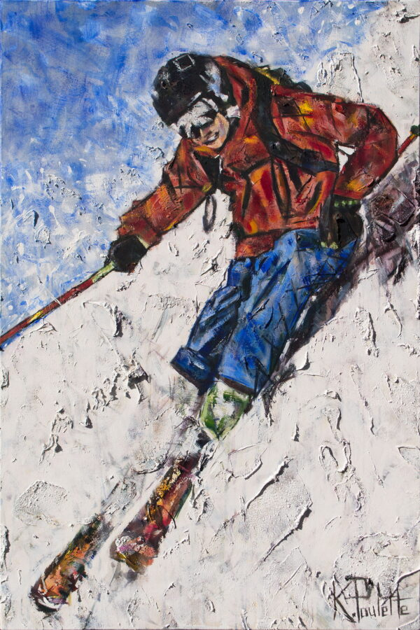 Skiing painting ski art of winter sports in action. Skier at fast speed like Olympics. Artwork with thick texture by artist Kent Paulette.