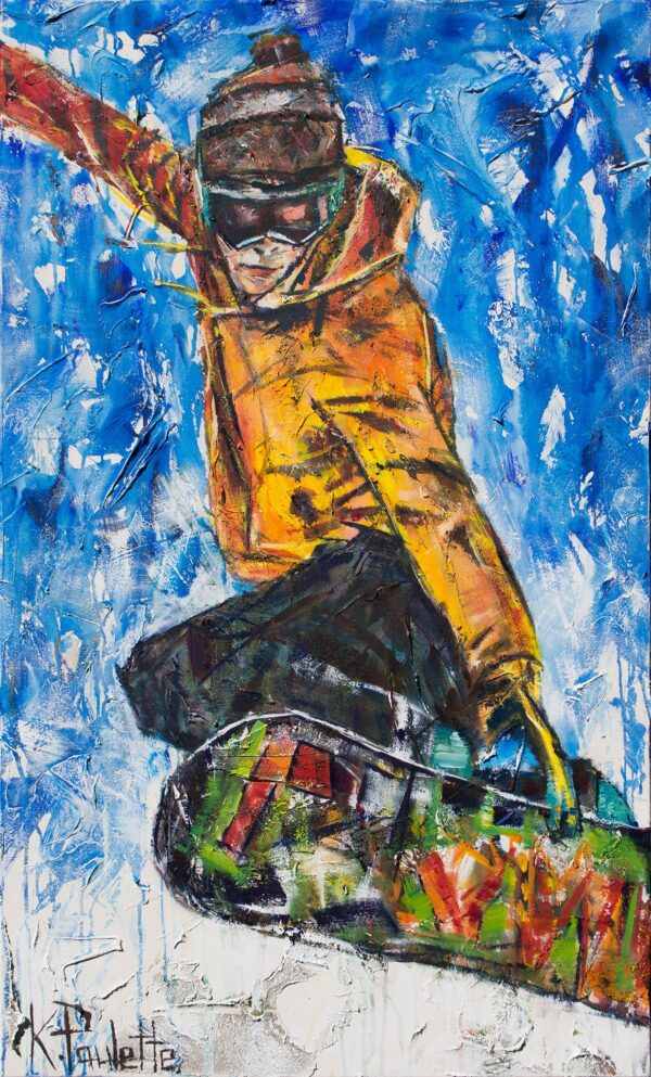 Snowboarding art on canvas. This colorful original painting depicts a snowboarder performing a cool grab trick. This modern art is by Kent Paulette.