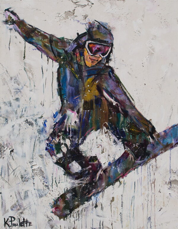 Snowboarding painting on canvas of extreme winter sports in action. The Olympics snowboarder in this colorful art is performing a grab trick. The painting is abstract and artist Kent Paulette painted it using acrylic.