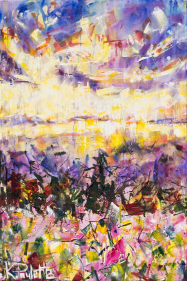 Spring mountain art is colorful. This painting is acrylic on canvas. This abstract contemporary artwork depicts a sunrise during the Spring season or Easter.