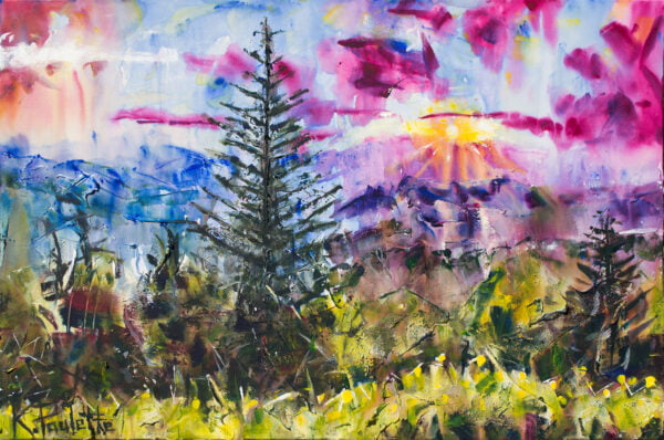Spring painting of mountains and nature landscape. This colorful art on canvas depicts a sunrise and gives a peaceful feeling.