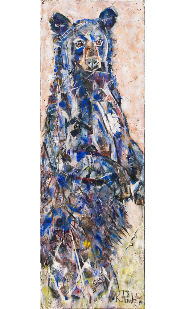 Standing bear artwork. This modern abstract painting of a black bear standing up has thick texture from a palette knife.