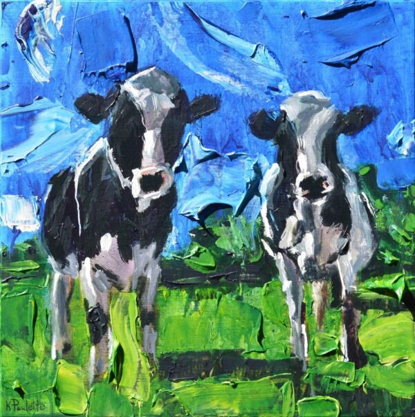 Sunny Cows animal painting is black and white with green grass and blue sky by artist Kent Paulette.