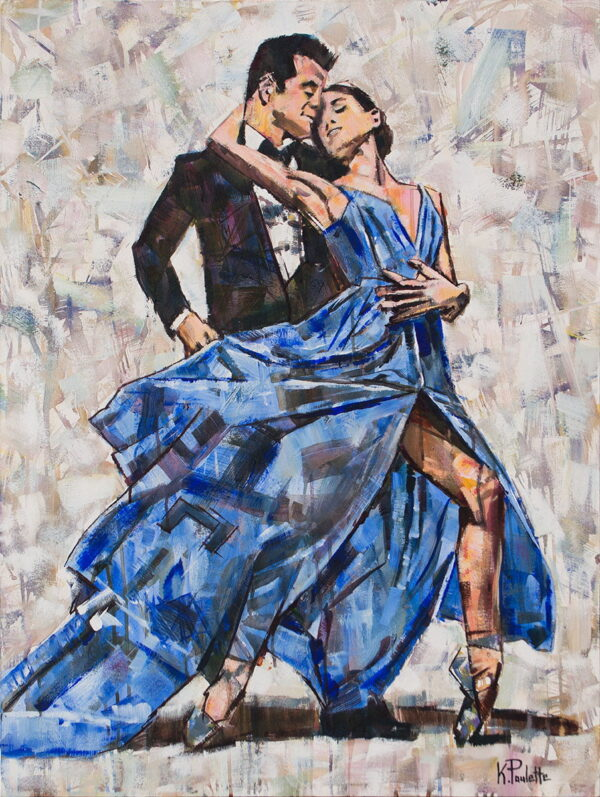 Tango Painting showing dance. A woman dancer in a blue dress and a man in a tuxedo are in this romantic artwork by K. Paulette