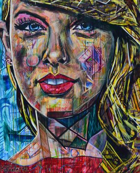 Taylor Swift is an original abstract painting for sale of the pop star. The celebrity portrait Pop Art has colorful geometric shapes and a modern style. Taylor Swift is smiling and has yellow blonde hair, red dress, blue eyes, and a blue background in this modern art by artist Kent Paulette.
