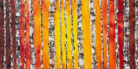 Painting of trees with palette knife impasto texture. Tree trunks with sunrise sky or fall leaves that are orange, red, and yellow.