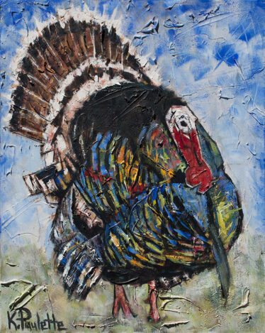 painting of wild turkey displaying. It is a male tom turkey.