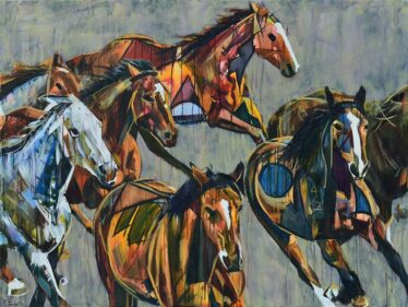 Horses Running Stampede Painting | Abstract Animal Art for Sale on Canvas | Equestrian Modern | The Wild Tribe