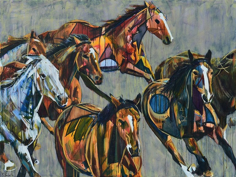 Horses Running Stampede Painting | Abstract Animal Art for Sale on ...