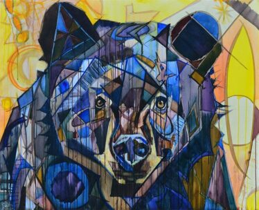 Bear Painting of purple, blue and black bear portrait for sale. Abstract wildlife art with yellow and orange whimsical Cubist shapes in the background. Wild is the Wind by artist Kent Paulette.