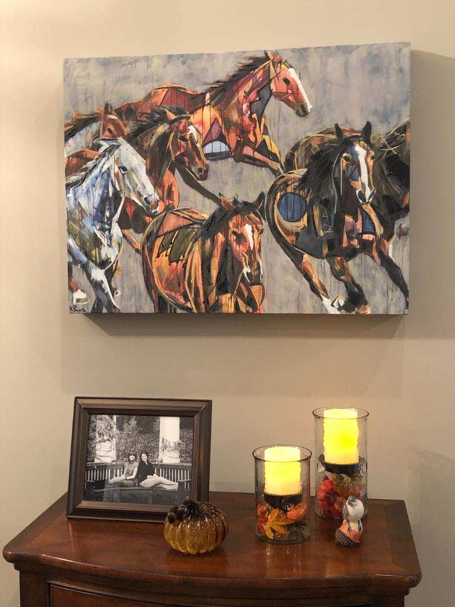 Wild Tribe horse painting, medium hand-embellished giclee hanging in customers' home